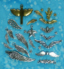 Tibetan Silver & Gold ANGEL WING Charms, Beads & Connectors -  USA Seller!!