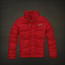 NWT Hollister by Abercrombie Mens Down Jacket / Puffer, Silver Strand, Red S