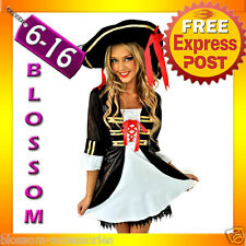 E18 Ladies Wench Caribbean Pirate Fancy Dress Up Party Halloween Costume & Hat