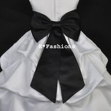 BLACK TIE BOW SASH 4 PAGEANT WEDDING FLOWER GIRL DRESS sz S M L 2 4 6 8 10 12 14