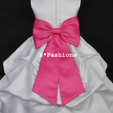 FUCHSIA PINK TIE BOW SASH 4 WEDDING FLOWER GIRL DRESS sz S M L 2 4 6 8 10 12 14