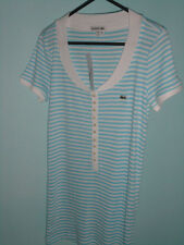 LACOSTE t-shirt white/blue size10 GENUINE BNWT rrp£100................... (2402)