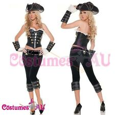 Ladies Caribbean Pirate Costume Wehch Swashbuckler Fancy Dress Full Outfit Hat
