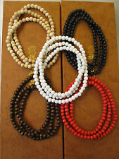"plain wood beads necklace, 32"" long, GOOD WOOD,"