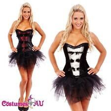 Ladies Burlesque Boned Corset Fancy Dress Costume Bustier Womens Tutu Skirt
