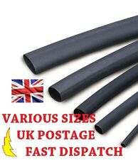 1.2mm Black Heat Shrink Tubing Various Sizes 2:1 Ratio Sleeving Heatshrink