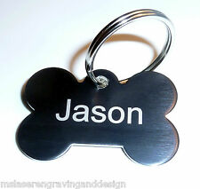 LARGE 40x28mm CAT & DOG PET NAME ID TAGS WITH FREE ENGRAVING + FREE SPLIT RING
