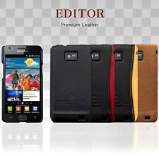 For SAMSUNG Galaxy S2-i9100 EDITOR Genuine Leather Grip Skin Case Cover