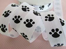 "5 yards Grosgrain 7/8"" Ribbon 23mm Craft/bow/wholesale-Little Dog Paw Print R81"