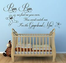 Gingerbread Man Nursery Rhyme - Vinyl Wall Art Sticker, Kids, Nursery, bedroom