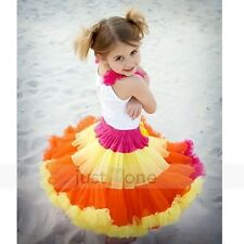 Baby Kids Girls Dancewear Cute Chiffon Tutu Full Pettiskirt Princess Skirt 1-8Y