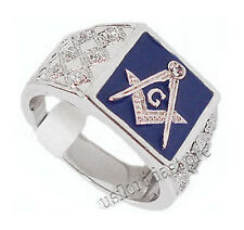 Mens Blue Masonic Mason 7st Rhodium Plated Ring New