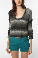 $59 NEW URBAN OUTFITTERS ECOTE  OMBRE GREY CROPPED BOXY SWEATER XS S M L