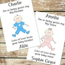 BIG BROTHER BIG SISTER FROM NEW BABY BOY GIRL PERSONALISED CARD ANY WORDING