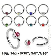 2pcs 16g,14g Steel C.Z. Captive Bead Ring Helix Cartilage Earrings Septum Labret