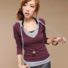 Casual Lady's Faux Twinset Top Hoodie Blouse T-Shirt BN