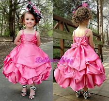 Rhinestones Wedding Flower Girls Pick Up Dresses Pageant Party Size 2T-10 FG151