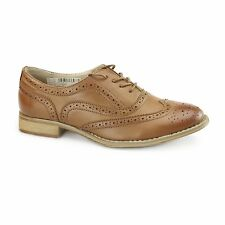 Womens Ladies Flat Brogue Smart Office Casual Formal Lace Up Shoes Burnish Tan