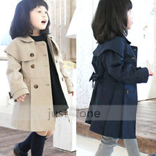Chic Kids Baby Girls Autumn Casual Outerwear Double-breasted Trench Coat 5 Sizes