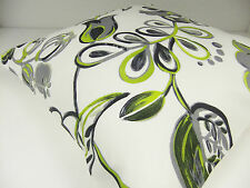 BRAND NEW SINGLE CUSHION COVERS GREY GREEN FLOWERS LEAVES RETRO 60s STYLE