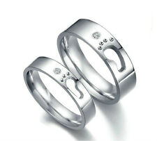 Footprints of love Matching Titanium Steel Love Promise Ring Wedding Bands