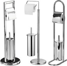 Classic Freestanding Bathroom Accessories Toilet Roll & Brush Holder Set