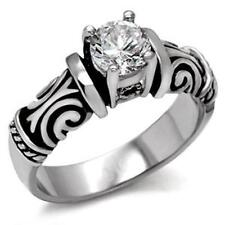 Stainless Steel 1ct. Two Tone Ornate Band Cocktail Ring Size 5/6/7/8/9/10 FSH A1