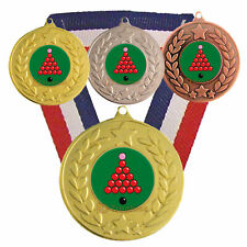Snooker Medal with R/W/B Ribbon -  Free Engraving - Snooker Trophies