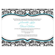 Wedding Reception Personalized Stationery LOVE BIRD DAMASK Invitation Cards