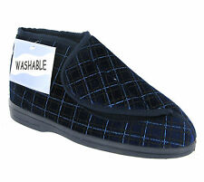 New Mens Wide Fitting Navy Slippers Machine Washable Velcro Booties Size 6-12