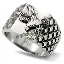 316 Stainless Steel Men's Eagle Floated Textured Ring - Size 8-13