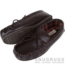 SNUGRUGS MENS GENUINE LEATHER MOCCASIN SLIPPERS BOAT SHOES TARTAN LINED