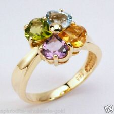 NEW 9K SOLID GOLD RINGS, 4 - SEMI PRECIOUS HEART SHAPE GEMSTONES , INSTOCK