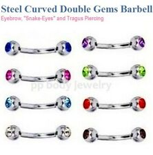 "1pc.14g-16g~1/4"" to 3/4"" Double Gems Curved Eyebrow Barbell Ear Tragus Cartilage"