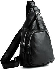 Mens backpack unisex travel bag Sling  shoulder bag black brown genuine leather