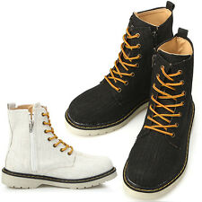 New Womens Casual Canvas Zip Ankle Boots Shoes Heels Black or Beige