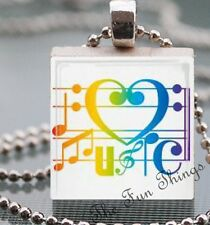 Love Heart & Musical Notes Scrabble Tile Pendant Handcrafted Love Music 1- 02