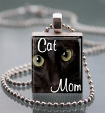 Cat Mom Black Cat Scrabble Tile Pendant Handcrafted Recycled Tile Art Kitty AB