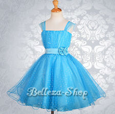 Sequin Tulle Formal Dresses Up Wedding Flower Girl Pageant Party Size 3T-12 FG31