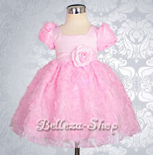 Embossed Flower Girl Dress Wedding Pageant Party Infant Baby Size 3m-24m FG159