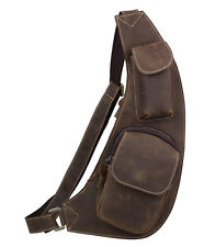 Men's Real Leather Small Backpack Sling Chest Cross-body Shoulder Bag Sports