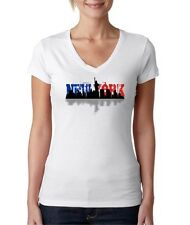 Juniors Next Level New York City Blue & Red Landscape V-Neck T-Shirt Tee