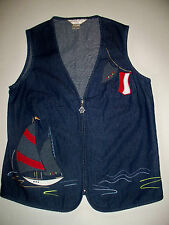 Womens Allison Daley Petite Blue Denim Zipper Nautical Sail Boat Vest NWT 6P 8P