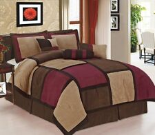 7 Pc Burgundy Brown & Beige Suede Patchwork Queen Size Comforter Set