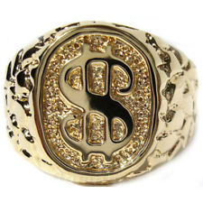 Dollar Sign Logo Gold Plated No Stone Mens Ring New