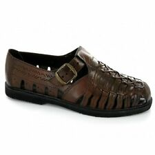 Mens Interlaced Weaved Leather Upper Smart Shoe Sandals Evening Closed Toe Brown