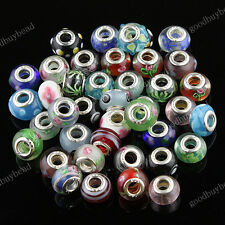 WHOLESALE LOTS MIXED MURANO LAMPWORK GLASS SILVER FINDINGS EUROPEAN CHARM BEADS