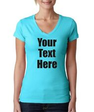 Juniors Next Level Custom Personalized Text V-Neck T-Shirt Tee All Sizes