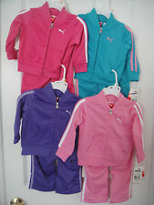 PUMA NWT Girls Track Suit Jacket Pant Top Shirt Zip Pink Teal Purple 12 18 24