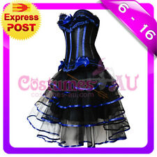 New Burlesque Black Satin Bustier Lace up corset g string Skirt
